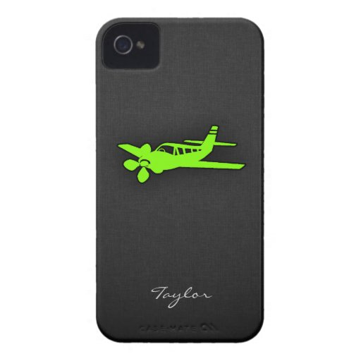 淡黄緑、|ネオン|緑|飛行機 iPhone 4 カバー