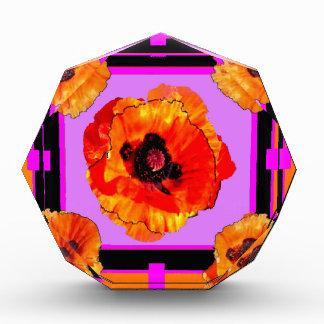淡黄緑、紫色、オレンジケシの芸術 表彰盾