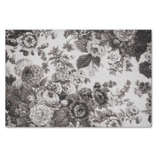 淡黄色の灰色の暗灰色のヴィンテージ花のToile No.3 薄葉紙
