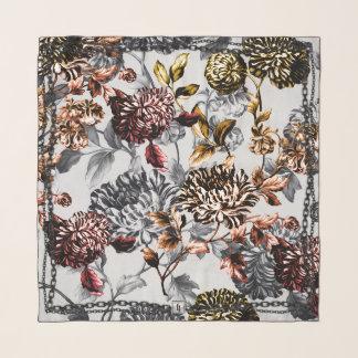 淡黄色の白黒のバラのイエロー・ゴールドの鎖の花柄 スカーフ