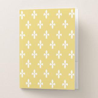 淡黄色のVictorian Fleur de Lys ポケットフォルダー