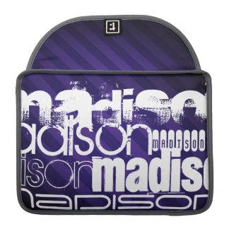 深いすみれ色の紫色のストライプの名前をカスタムする MacBook PROスリーブ