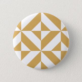 深いのクールな金ゴールドの幾何学的なDecoの立方体パターン 缶バッジ