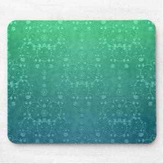 深いアクアマリンのターコイズの緑のダマスク織パターン マウスパッド
