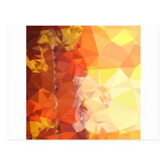 深いサフランのオレンジの抽象芸術の低い多角形Backgroun ポストカード