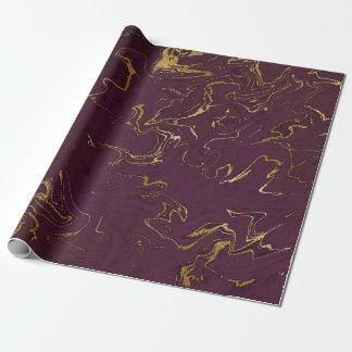 深い地球の金ゴールドの大理石のプラム紫色 ラッピングペーパー