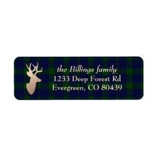深い森林格子縞の金シカのクリスマスの休日 ラベル