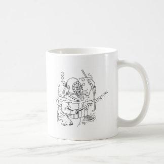 深い深海のダイバー コーヒーマグカップ