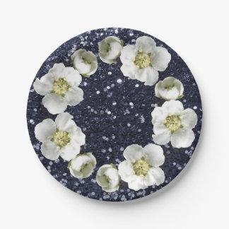 深い濃紺の花のリースの結婚式のグリッター ペーパープレート