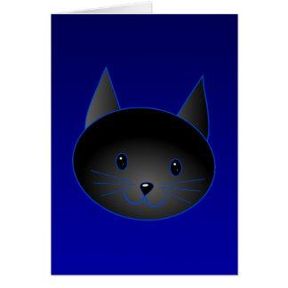 深い真夜中の青のかわいい黒猫 カード