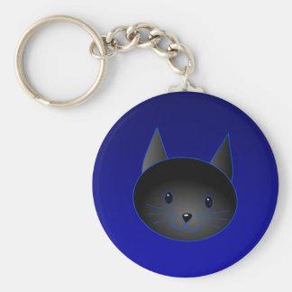 深い真夜中の青のかわいい黒猫 キーホルダー