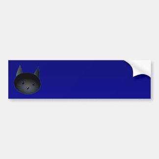 深い真夜中の青のかわいい黒猫 バンパーステッカー