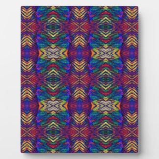 深い金持ちの秋の青の紫色の種族パターン フォトプラーク