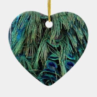 深い青および緑クジャクの羽 セラミックオーナメント