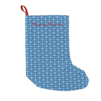 深い青のレトロのピースサイン スモールクリスマスストッキング