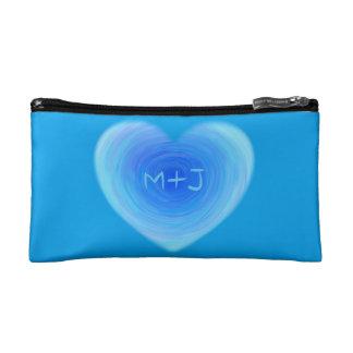 深い青海原のハートの名前入りなモノグラム愛 コスメティックバッグ