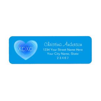 深い青海原のハート名前入りなXOXOの愛 ラベル