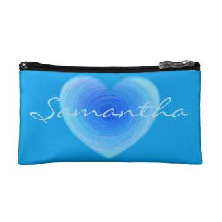 深い青海原のハート-青い名前入りの愛 コスメティックバッグ