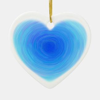 深い青海原のハート-青の色合いの愛 セラミックオーナメント