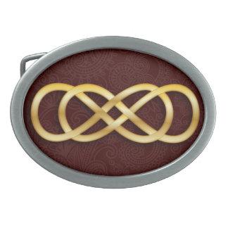 深い-赤-の二重無限金ゴールドバックル2にベルトを付けて下さい 卵形バックル