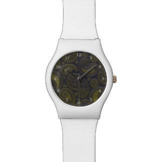 深いburgandyの燃やされたアンバーの黄色のペイズリー 腕時計