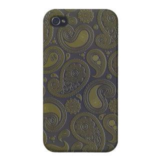 深いburgandyの燃やされたアンバーの黄色のペイズリー iPhone 4/4S case