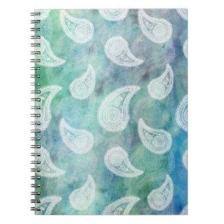 深く青いペイズリー ノートブック