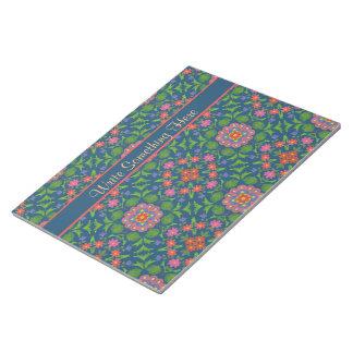深く青いメモ帳またはJotterの花のRangoli ノートパッド