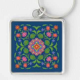 深く青い正方形のKeychainのシックな花のRangoli キーホルダー