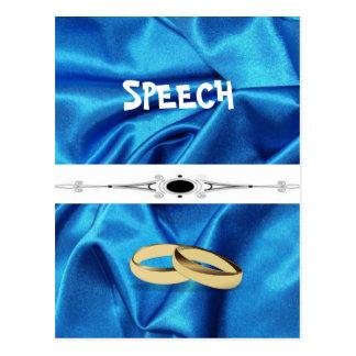 深く青い絹の効果の結婚 ポストカード