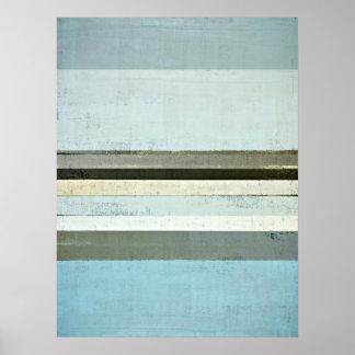 「深刻な」青および灰色の抽象美術ポスタープリント ポスター