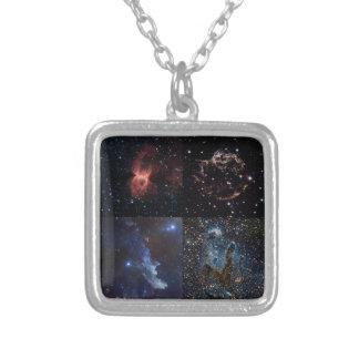 深宇宙の星の芸術性 シルバープレートネックレス