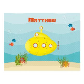 深海の黄色の潜水艦 ポストカード