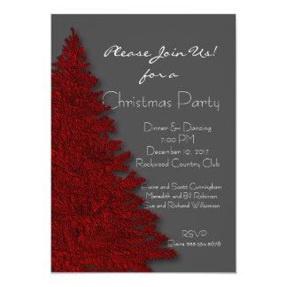 深紅およびチャコールグレーのクリスマス・パーティ 12.7 X 17.8 インビテーションカード