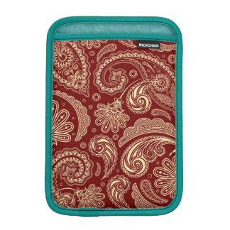 深紅およびベージュ色クリームヴィンテージのペイズリー iPad MINI スリーブ