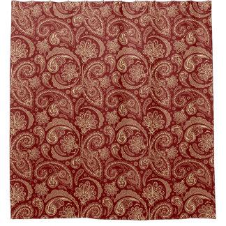 深紅およびベージュ色ペイズリー シャワーカーテン