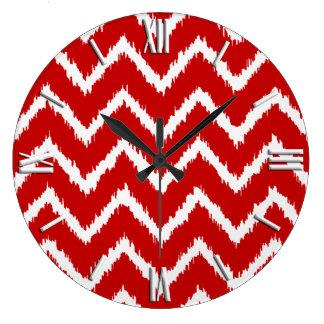 深紅および白いイカットのシェブロン- ラージ壁時計