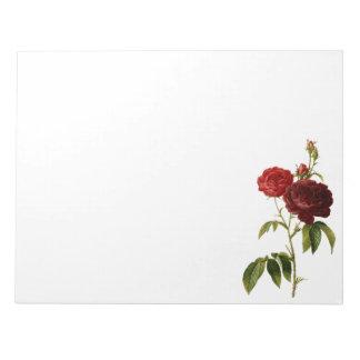 深紅にヴィンテージのバラの絵を描くこと ノートパッド