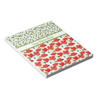 深紅のケシおよび芽のメモ帳またはJotter ノートパッド