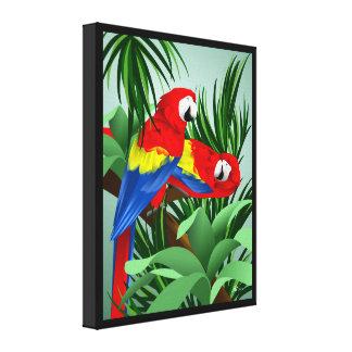 深紅のコンゴウインコのオウムの芸術 キャンバスプリント