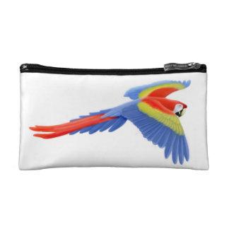 深紅のコンゴウインコのオウムのBagettesの飛んでいるなバッグ コスメティックバッグ