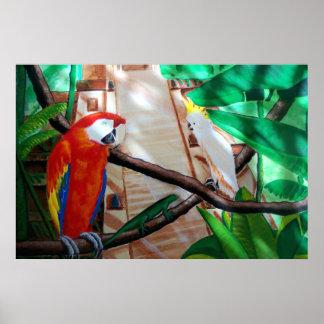 深紅のコンゴウインコの白いオウムのアマゾンジャングルポスター ポスター