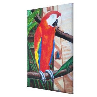 深紅のコンゴウインコの野性生物のアマゾンジャングルの鳥の絵画 キャンバスプリント