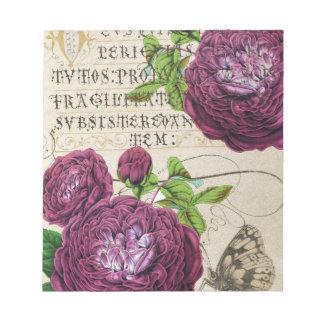 深紅のバラの原稿コラージュ ノートパッド