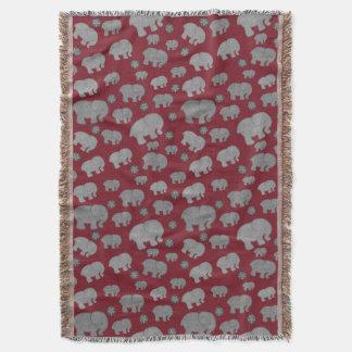 深紅のパターン象毛布 スローブランケット