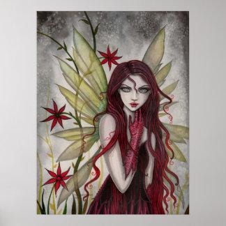 深紅のモーリーハリスンによる妖精のファンタジーの芸術 ポスター