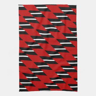 深紅の印刷される白黒模造のな織り方パターン キッチンタオル