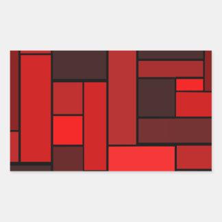 深紅の寄木細工の床のデザイン 長方形シール