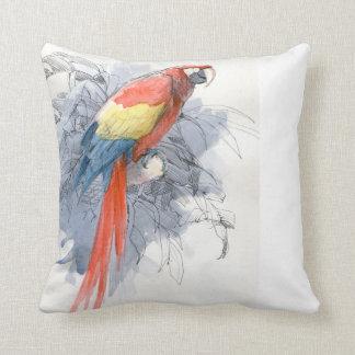 深紅の水彩画のコンゴウインコの鳥の枕 クッション