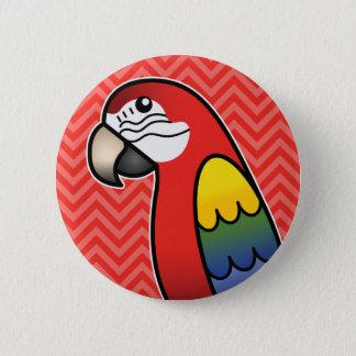 深紅の漫画のコンゴウインコのオウムの鳥 5.7CM 丸型バッジ